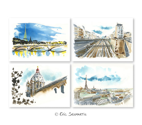 4 cartes PARIS Romantique