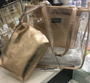 Clear See Through Tote Bag w Wallet Purse