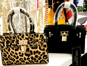 Mini Satchel Leopard or Black Print Bag Purses with Side Strap