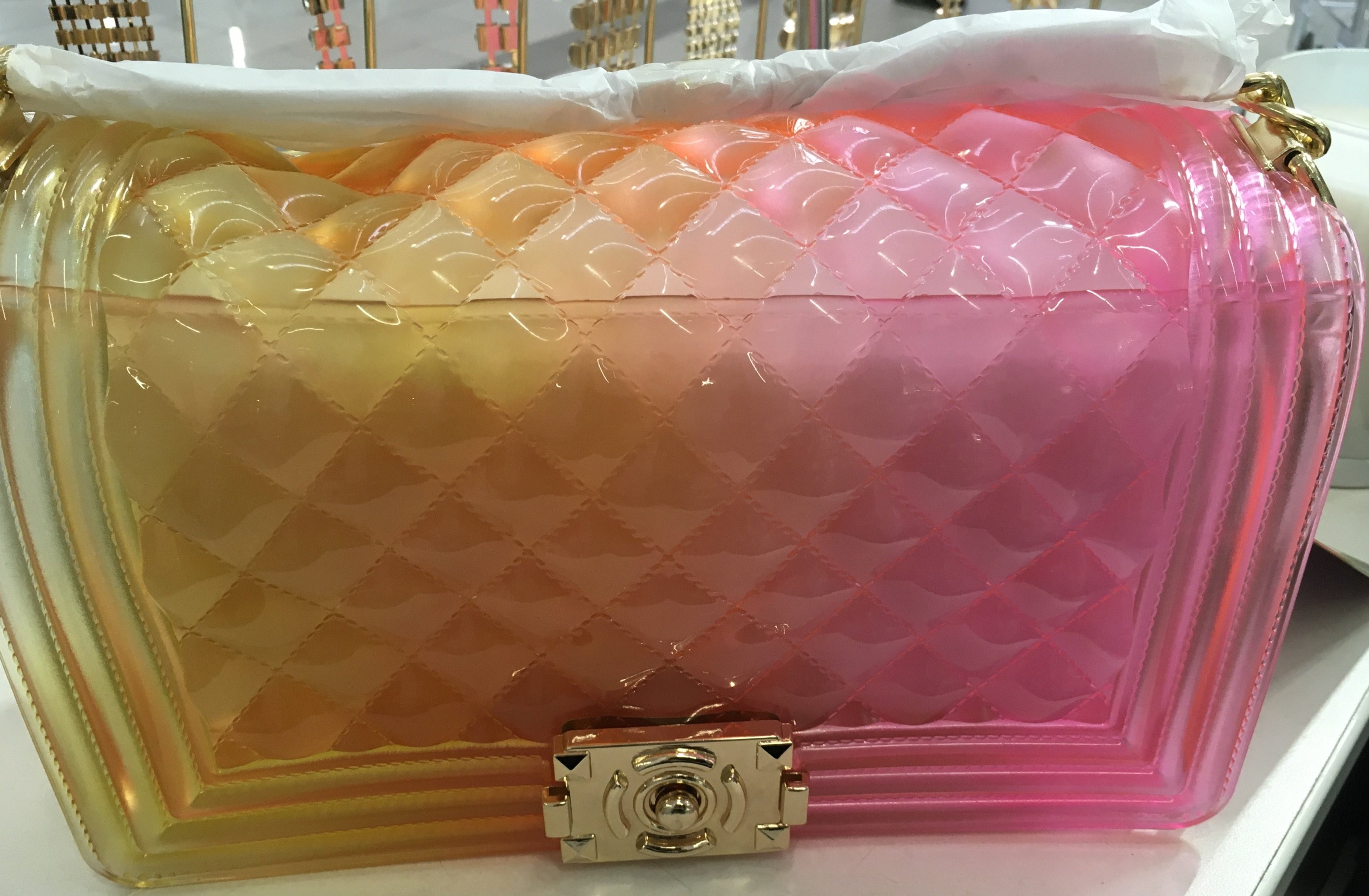 Clear Plastic Rubber Large Purse Bags