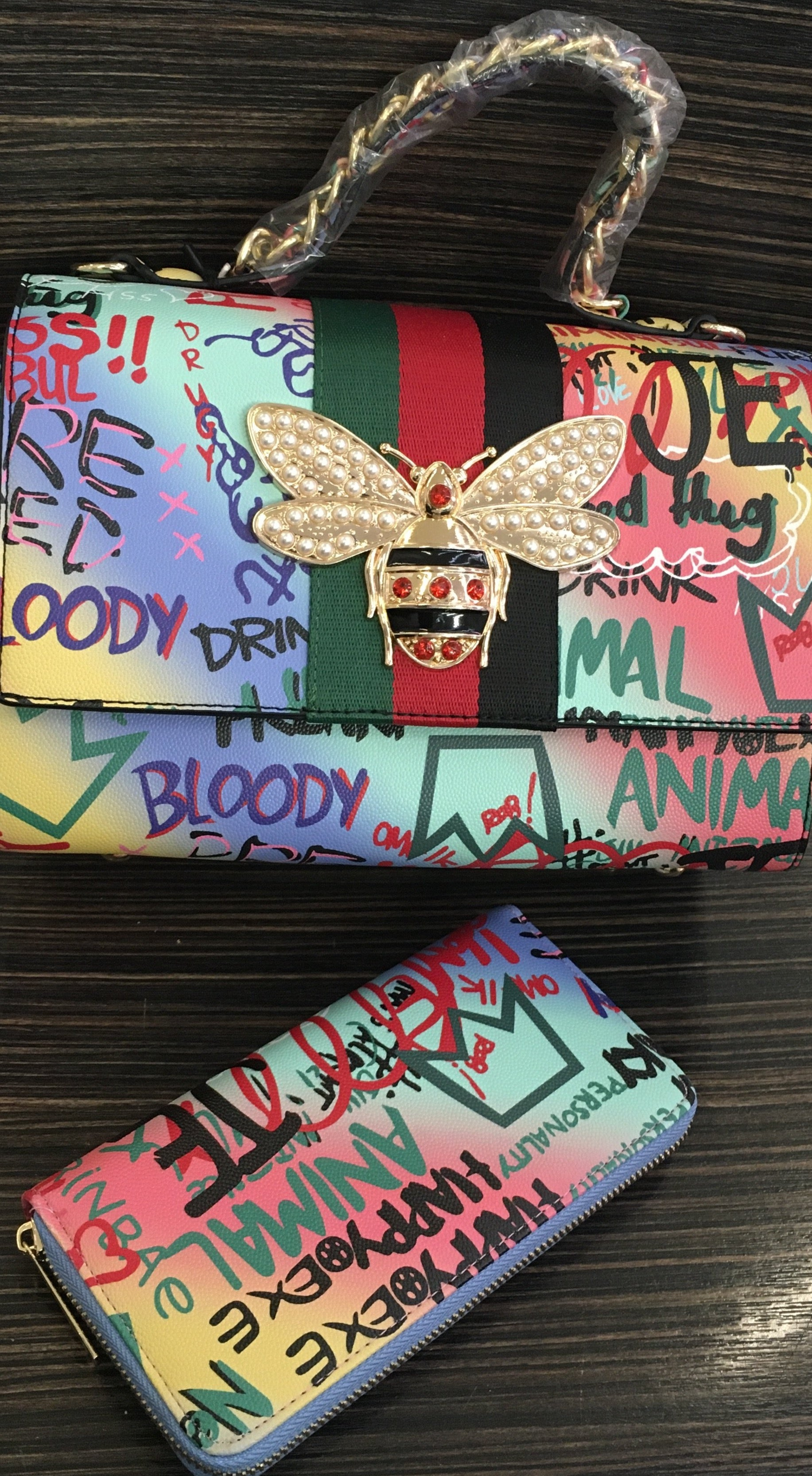 Gucci Inspired Butterfly Graffiti Purse Bag with Wallet