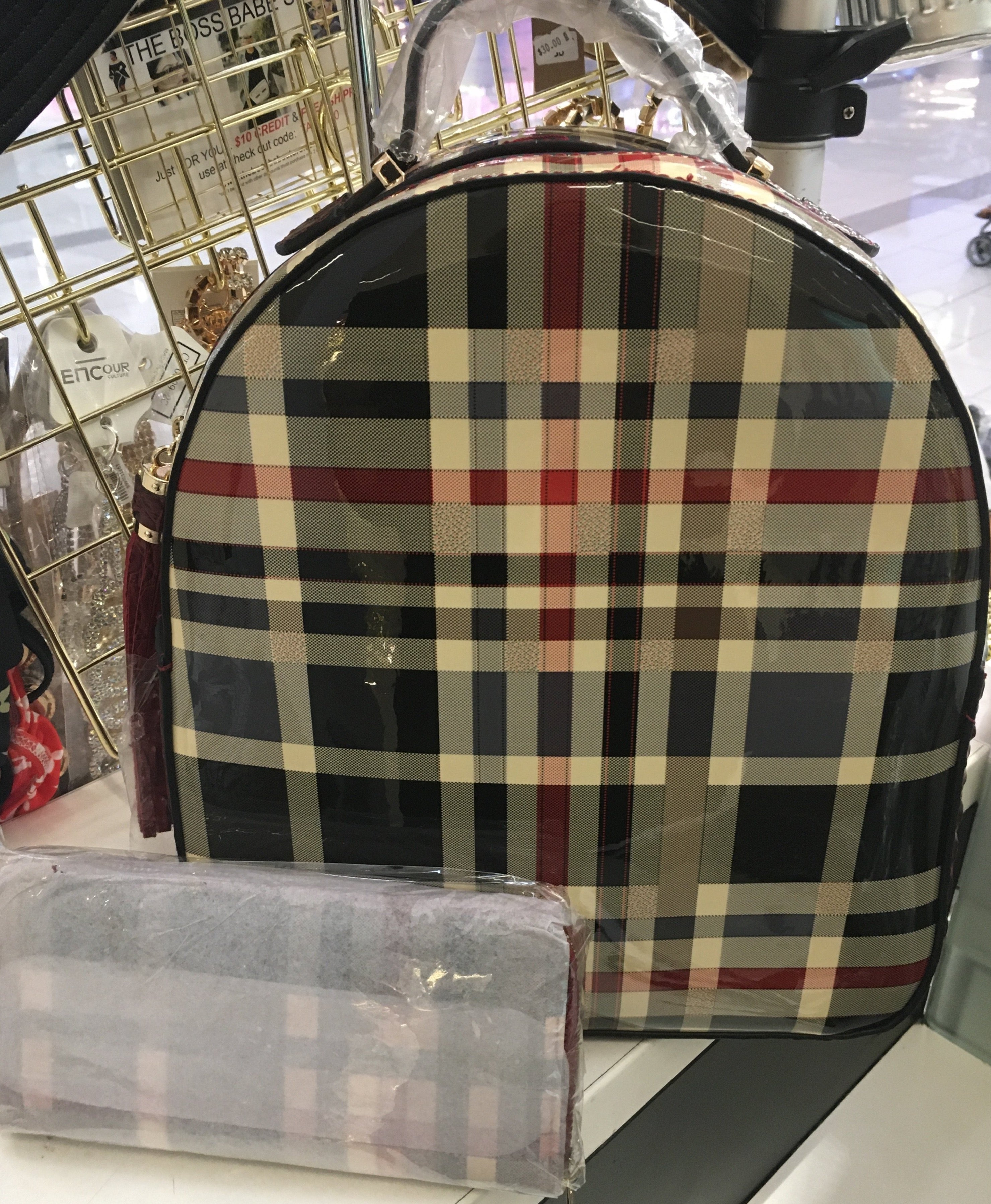 Burberry Inspired Backpack w Wallet Purse Bag