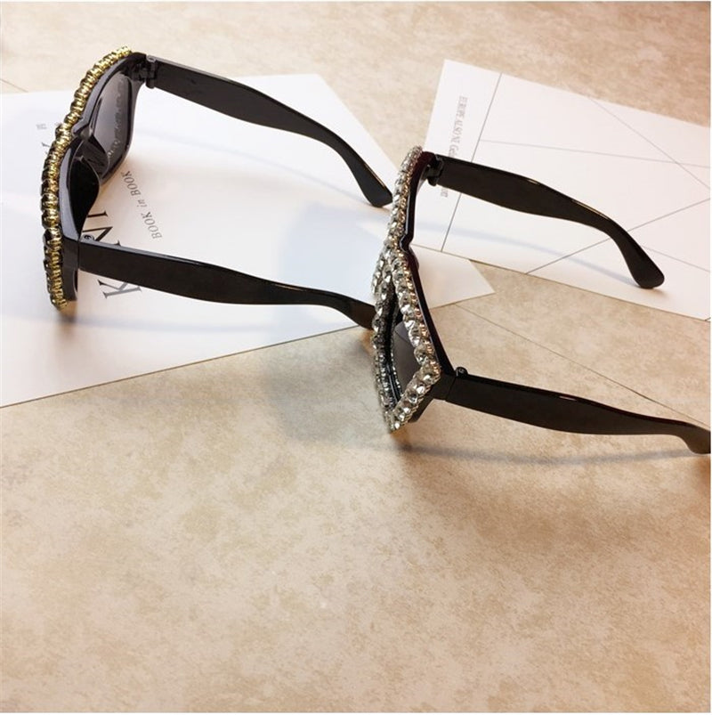 Oversized Rhinestone Square Diamond Sunglasses Glasses