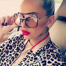 Leopard Print Square Women Oversize Wired Sunglasses 2020