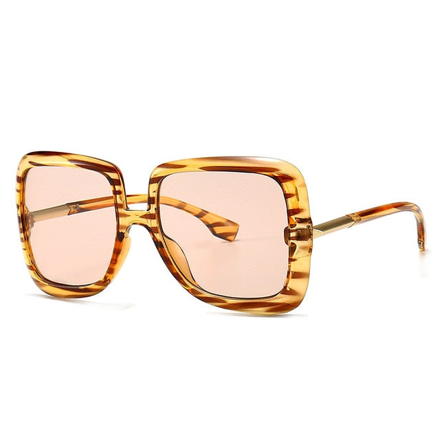 Oversized Square Leopard Womens Sunglasses