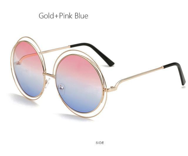 ff0795a01f7 ... Vintage Oversized Round Sunglasses Large Size Metal Circle Mirror ...