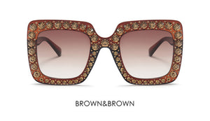 Rhinestone Gucci Inspired Oversized Square Mirror Sunglasses