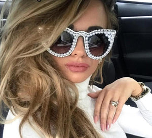 Luxury Rhinestone Pearl Beads Diamond Cat Eye Sunglasses