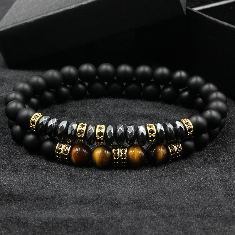 Men Bracelet  Matte Beads with Hematite Bead Diy Charm Bracelet