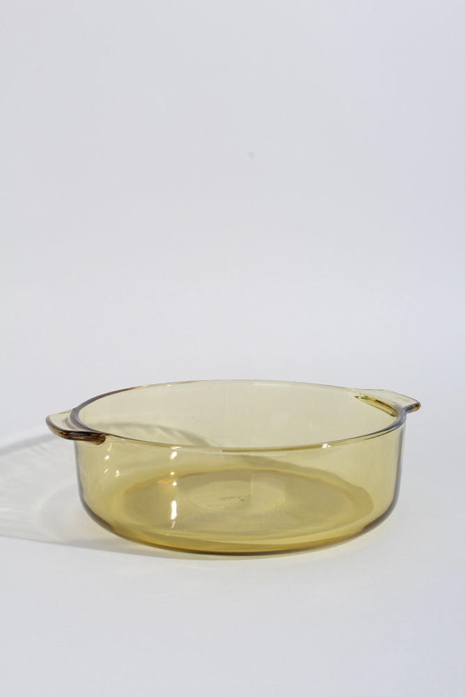 MUSTARD GLASS ROUND BAKING DISH | SWEET CHARITY STORE | AUCKLAND NZ