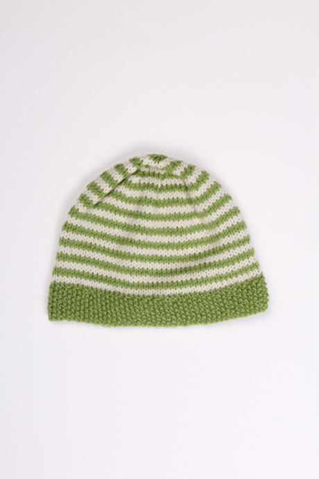 GREEN STRIPED BEANIE, 6-12M | SWEET CHARITY STORE | AUCKLAND NZ