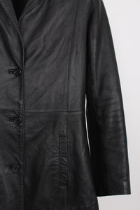 SLICK BLACK LEATHER COAT, SIZE 8 | SWEET CHARITY STORE | AUCKLAND NZ