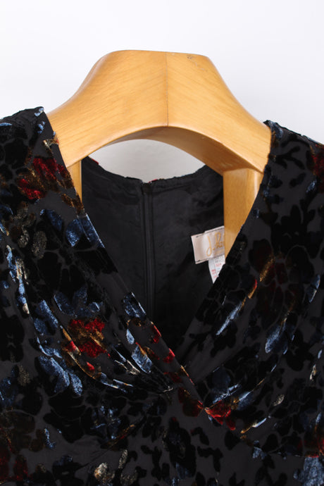 VINTAGE VELVET SILK ASYMMETRICAL DRESS, SIZE 40 | SWEET CHARITY STORE | AUCKLAND NZ
