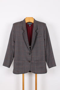 JANES DANIELS CHECK WOOL BLAZER, SIZE 10 | SWEET CHARITY STORE | AUCKLAND NZ