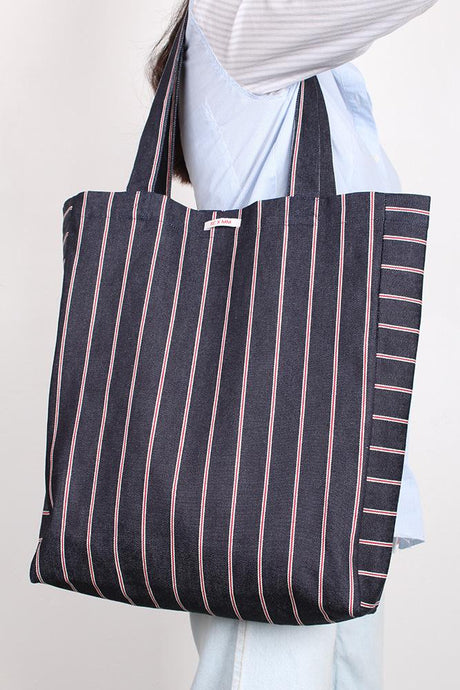 SWEET CHARITY X MAGGIE MARILYN TOTE BAG, DENIM STRIPE | SWEET CHARITY STORE | AUCKLAND NZ