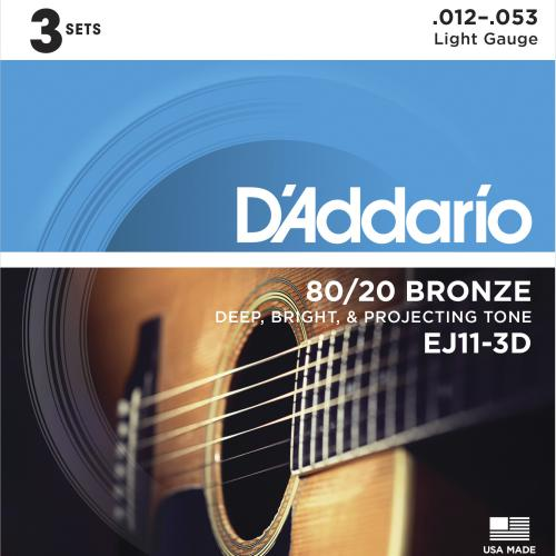 D'Addario 80/20 Bronze Acoustic Guitar Strings - 3-Pack