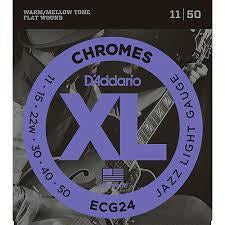 D'Addario ECG24 XL Chromes Jazz Light Flat Wound Electric Guitar Strings | Kincaid's Is Music