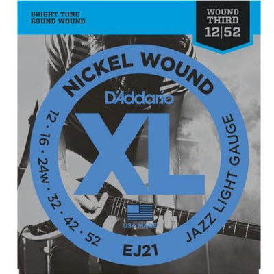 D'Addario EJ21 Jazz Light Gauge XL Nickel Wound Electric Guitar Strings with Wound Third