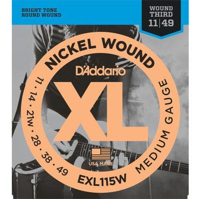 D'Addario EXL115W Medium Gauge XL Nickel Wound Electric Guitar Strings with Wound Third