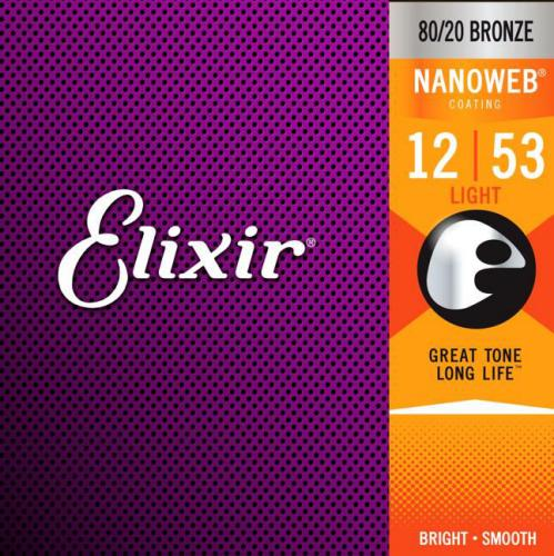 Elixir Nanoweb 80/20 Bronze Acoustic Guitar Strings