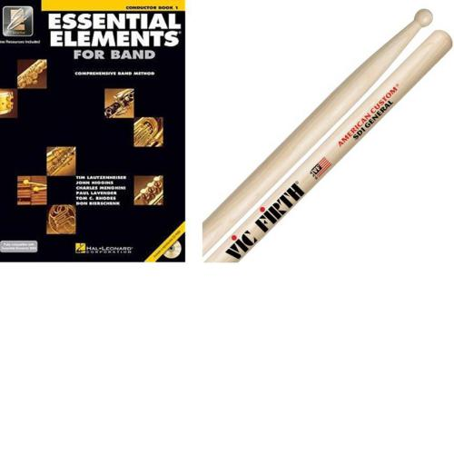 Essential Elements for Band Conductor's Book and Vic Firth SD1 Drum Sticks