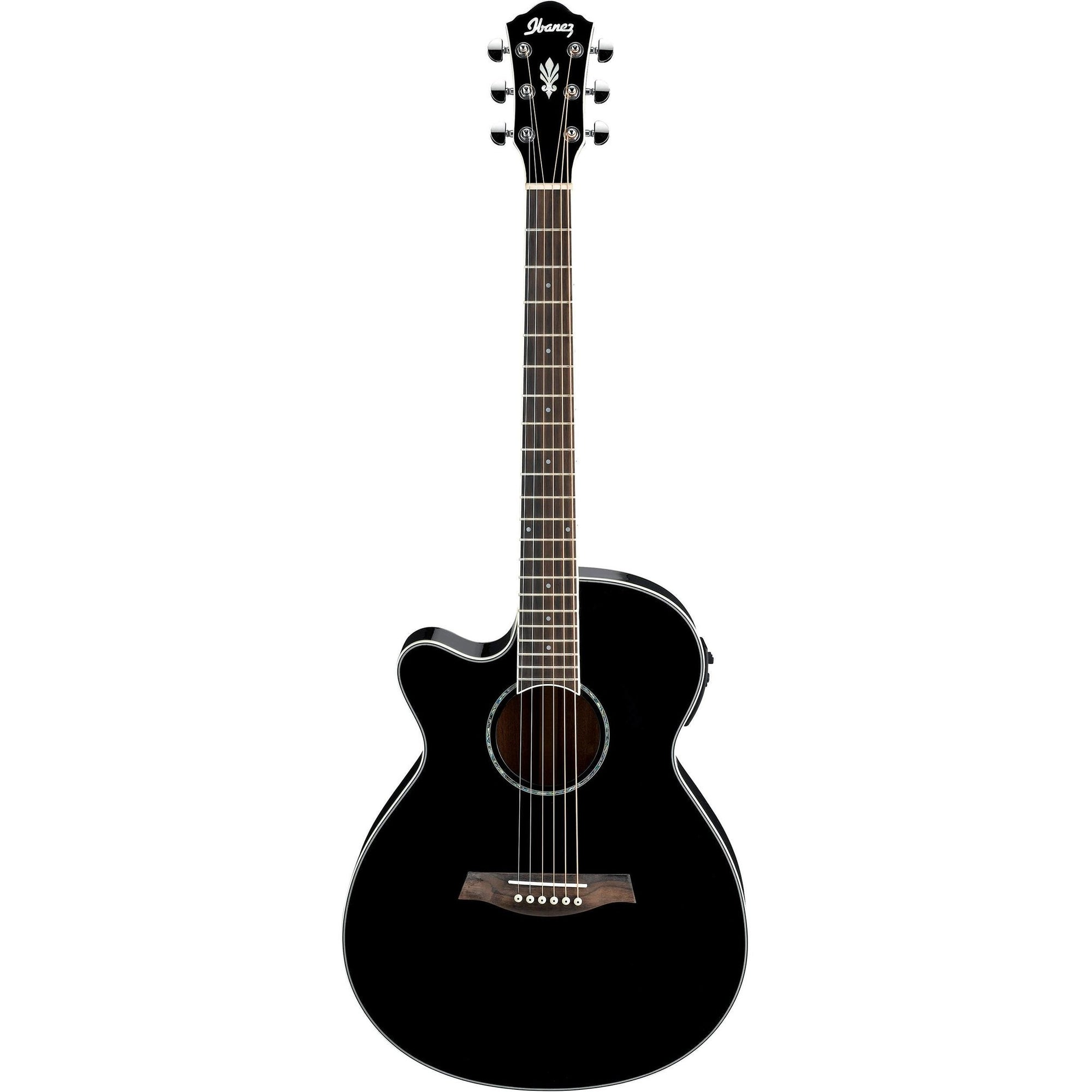Ibanez AEG10LII-BK Black Left-Handed Acoustic-Electric Guitar, Black