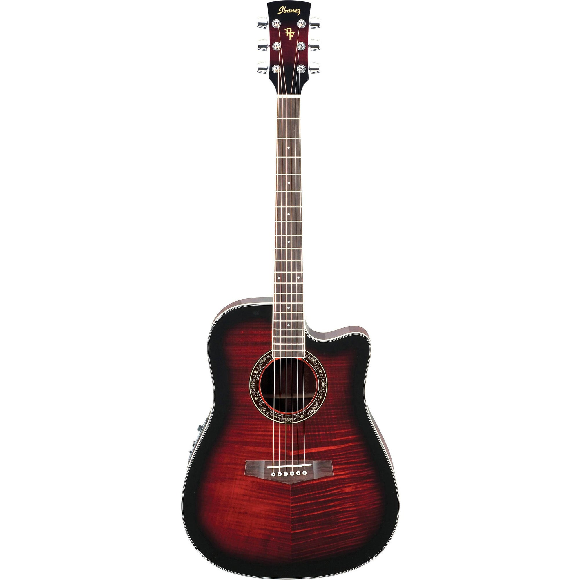 Ibanez PF28ECE Performance Acoustic-Electric Guitar - Transparent Red Sunburst