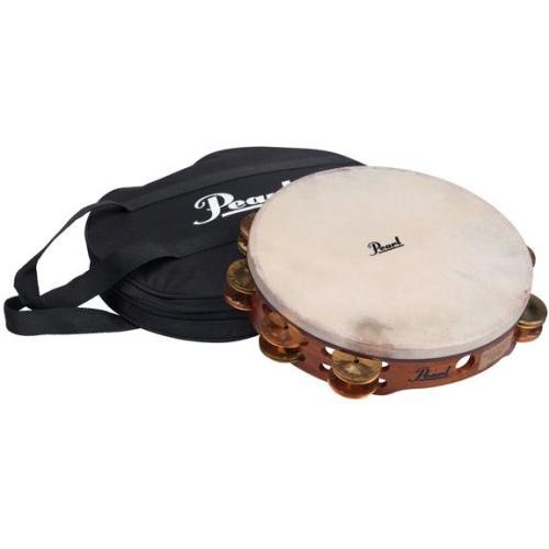 "Pearl 10"" Double Row Concert Tambourine with Carrying Bag"