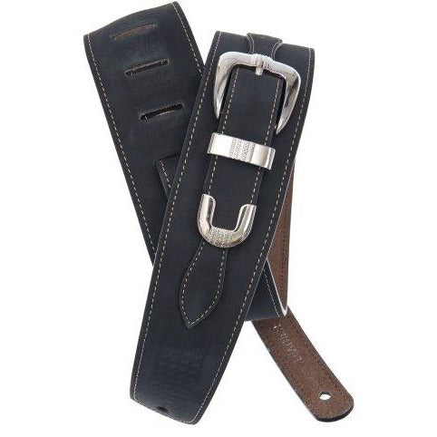 Planet Waves Belt Buckle Leather Guitar Strap - Black | Kincaid's Is Music