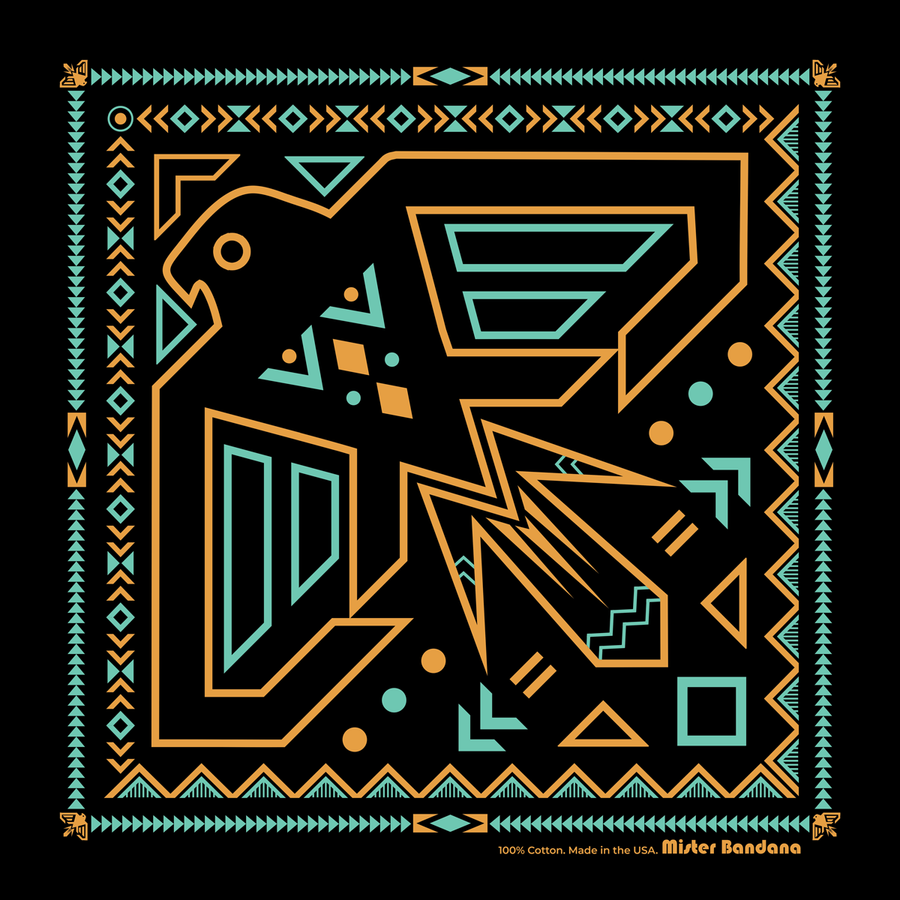 "Neon Falcon Bandana -Made in USA - 22""x22"" - B&T Threads"