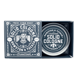 Aroostook solid cologne .5 oz metal tin with slider box