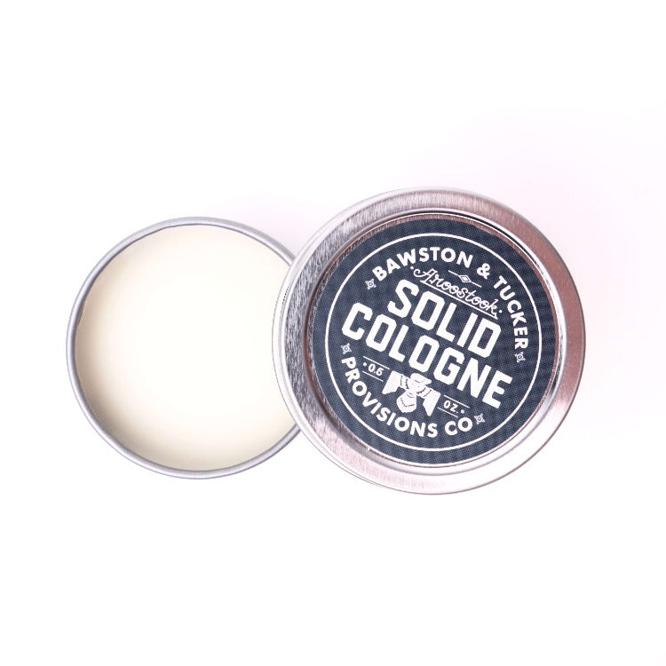 Aroostook solid cologne .5 oz metal tin open