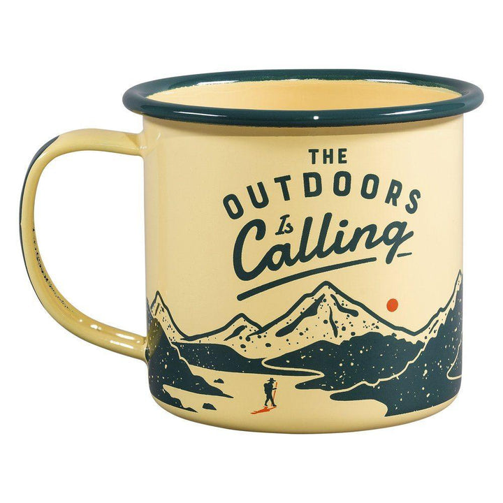 Outdoors is Calling Enamel Mug -11 oz - B&T Home Goods