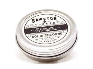 Hurytt solid cologne tin packaging by Bawston & Tucker