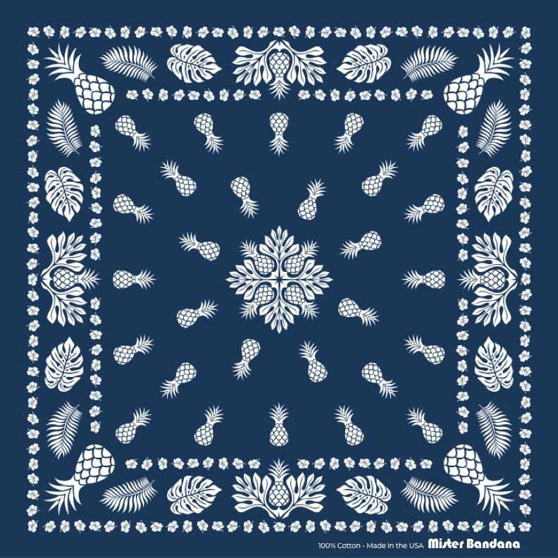"Simpler Times Bandana -Navy -Made in USA - 22""x22"" - B&T Threads"