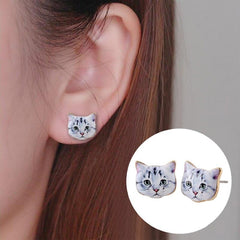 White Cat Stud Earrings - My Trendify Shop