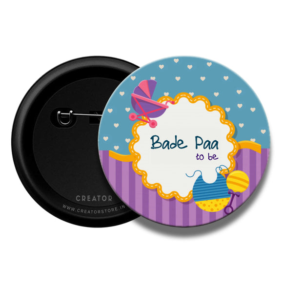 Bade Paa Baby shower Pinback Button Badge