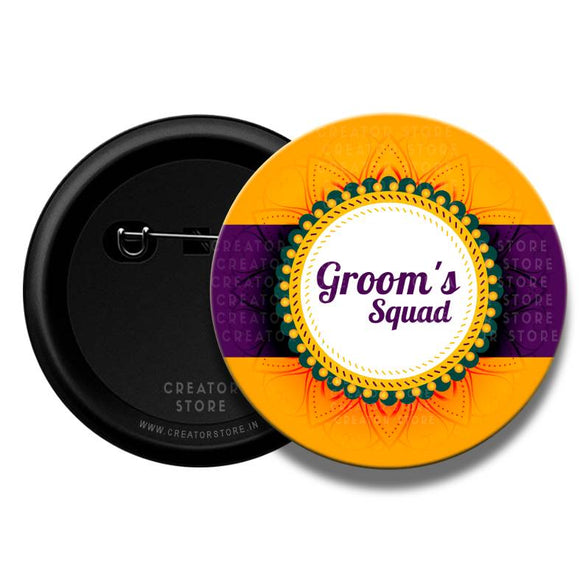 Groom Squad Wedding Pinback Button badge