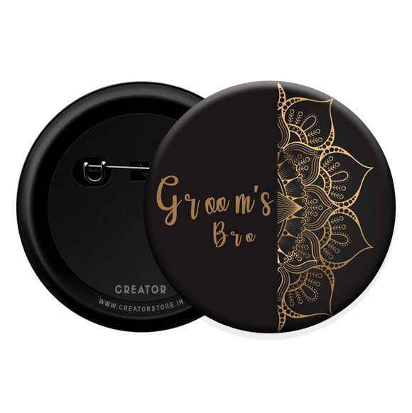 Groom's Bro wedding Button Badge