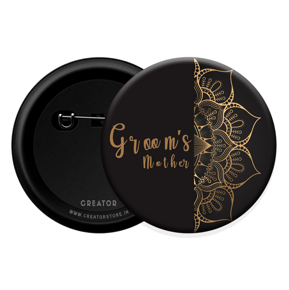 Groom's Mother wedding Button Badge