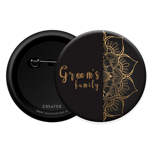 Groom's family wedding Button Badge