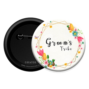 Groom's Tribe wedding Button Badge