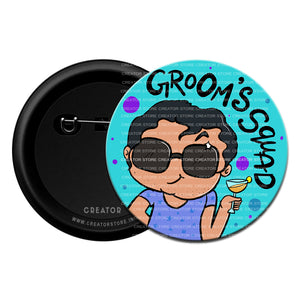 Groom's Squad Wedding Pinback Button Badge