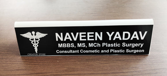 Personalised/Customised Double Sided Acrylic White Base Desk Name Plate - 12*3*0.3inches - Creator Store