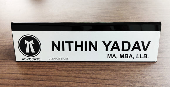Personalised/Customised Double Sided Acrylic Black Base Desk Name Plate - 12*3*0.3inches - Creator Store