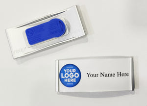 Silver metal Custom made magnetic Premium Name Badge