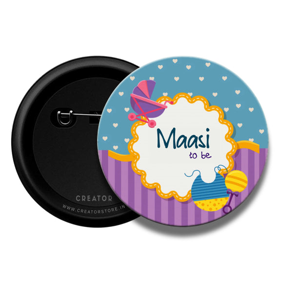 Maasi to be Baby shower Pinback Button Badge