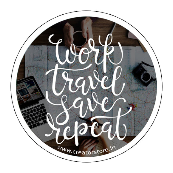 Work Travel save repeat Laptop Sticker