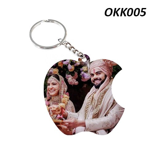 Apple shape photo Keychain