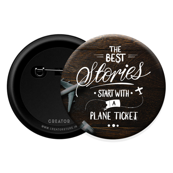 Plane ticket Button Badge